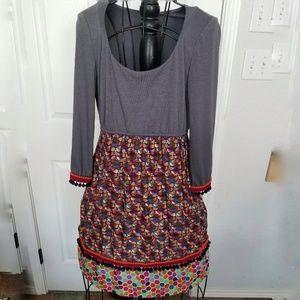 Uncle Frank gray print pompom dress